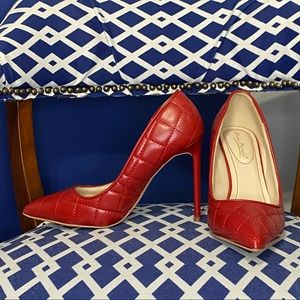Red quilted classic pointy toe stiletto heels